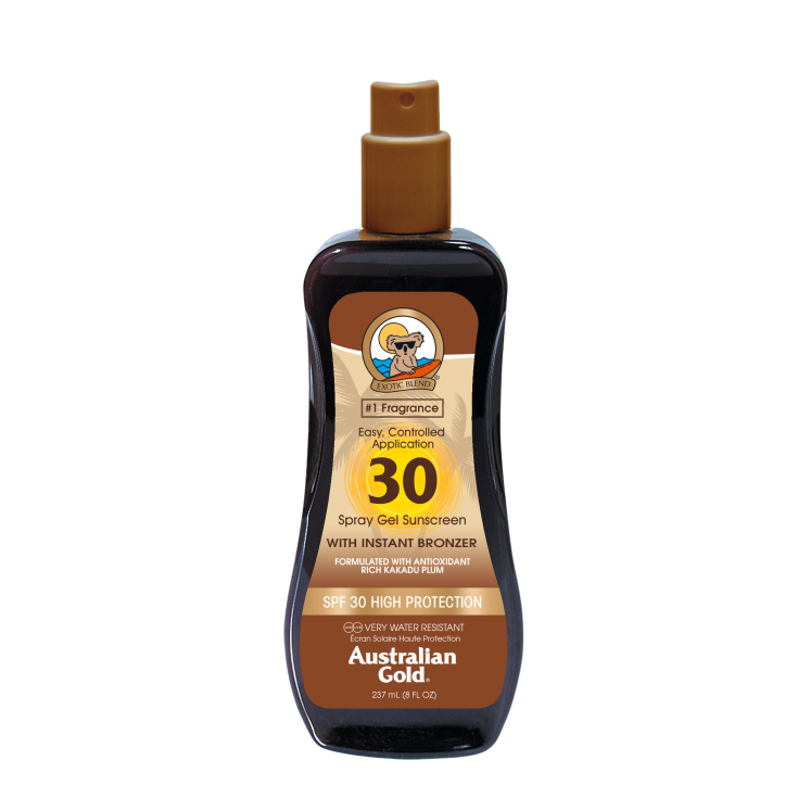 australian gold sunscreen spf30 spray gel with instant bronzer 237ml