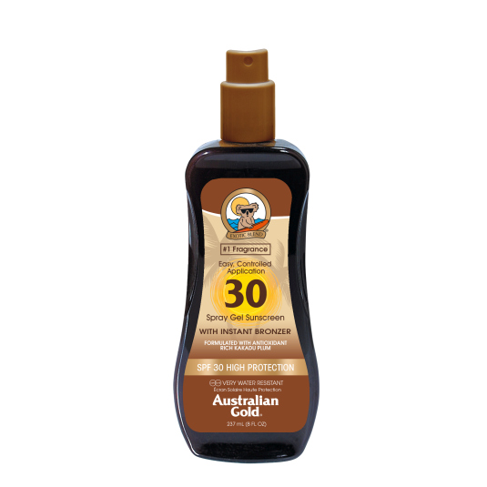 australian gold sunscreen spf30 spray gel with instant bronzer 237ml