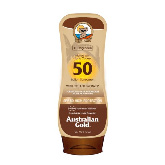 australian gold protector solar loción w/bronzer spf50 237ml