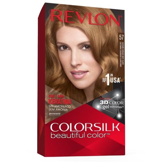 revlon colorsilk 57 castaño dorado muy claro tinte permanente sin amoniaco