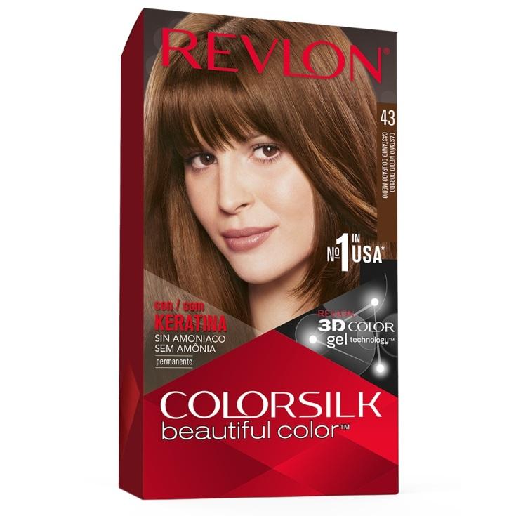 revlon colorsilk 43 castaño dorado medio tinte permanente sin amoniaco