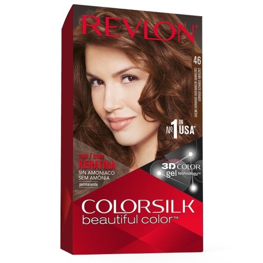 revlon colorsilk 46 castaño cobrizo dorado medio tinte permanente sin amoniaco
