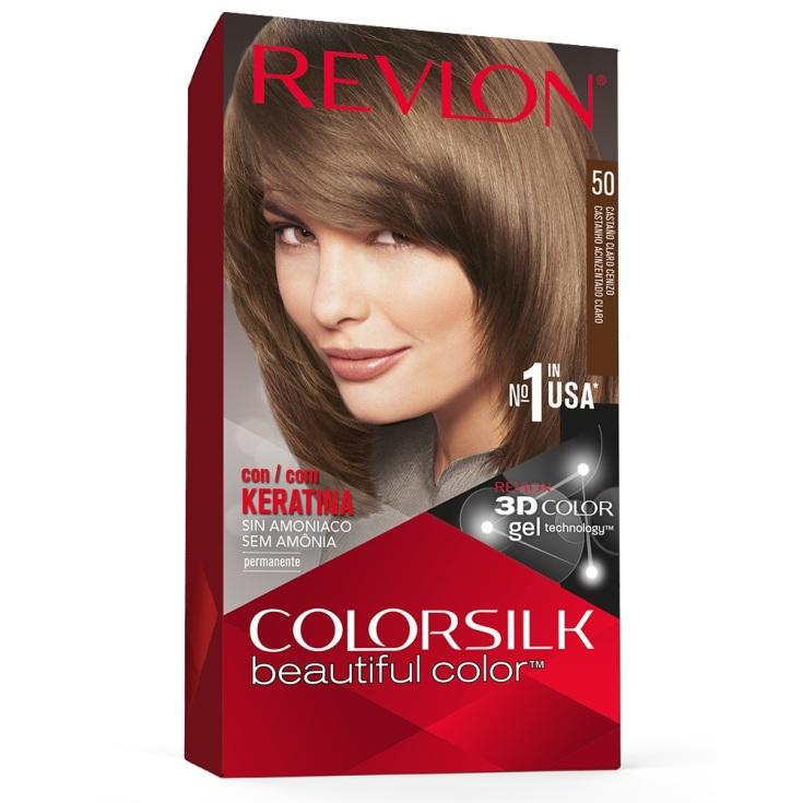 revlon colorsilk 50 castaño claro cenizo tinte permanente sin amoniaco