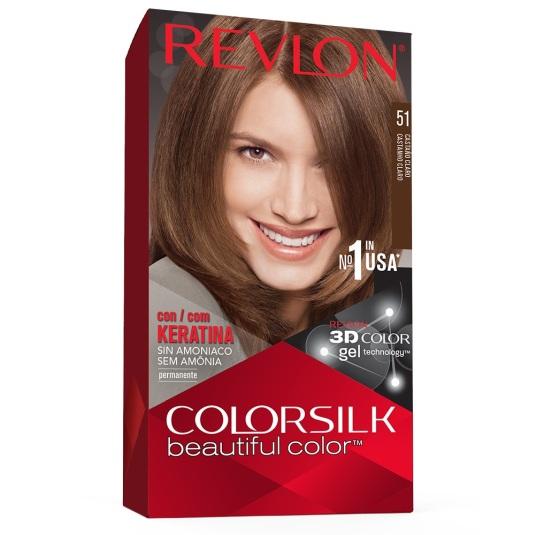 revlon colorsilk 51 castaño claro tinte permanente sin amoniaco