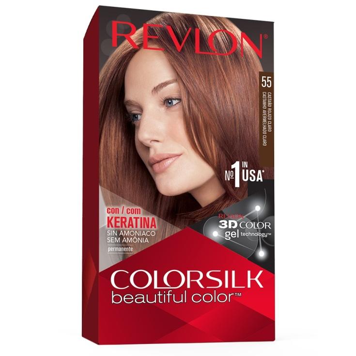 revlon colorsilk 55 castaño rojizo claro tinte permanente sin amoniaco