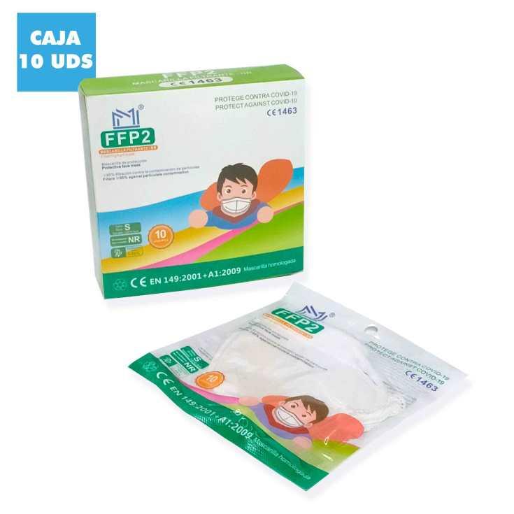 mascarilla ffp2 infantil blanca caja 10 unidades