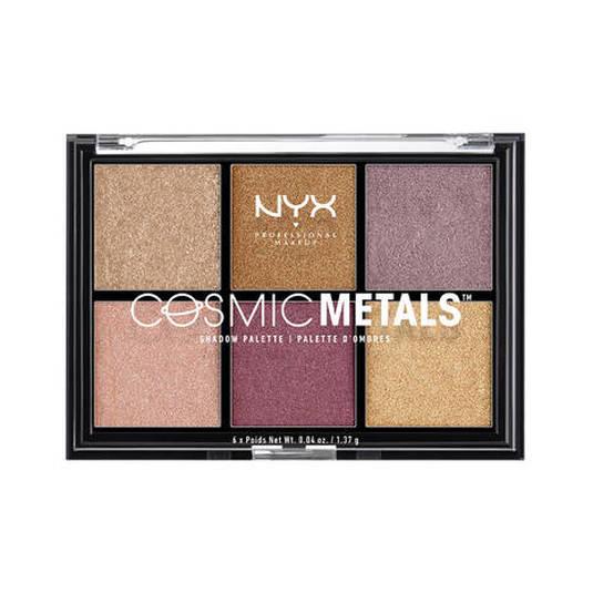 nyx cosmic metals shadow palette paleta sombra ojos 6 tonos