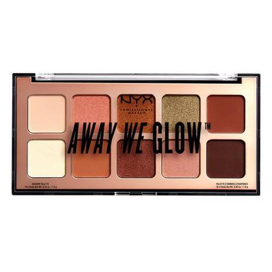 nyx away we glow shadow palette paleta sombra de ojos 10 tonos