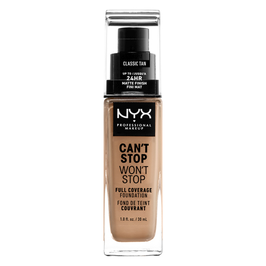 nyx can't stop won't stop foundation 24h base maquillaje