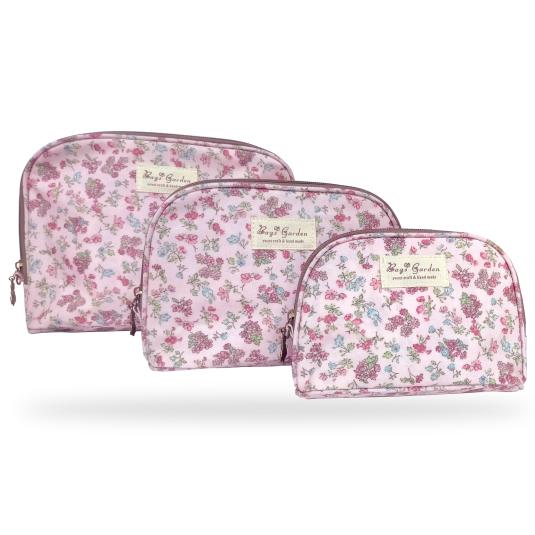 neceser estampado floral rosa 3 tamaños