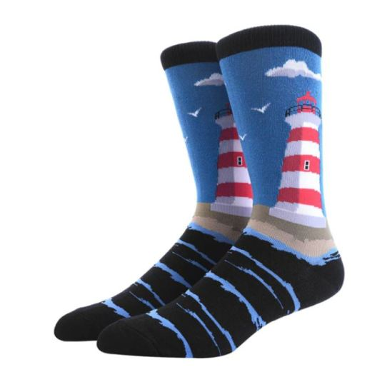 calcetines divertidos estampado oceano-faro