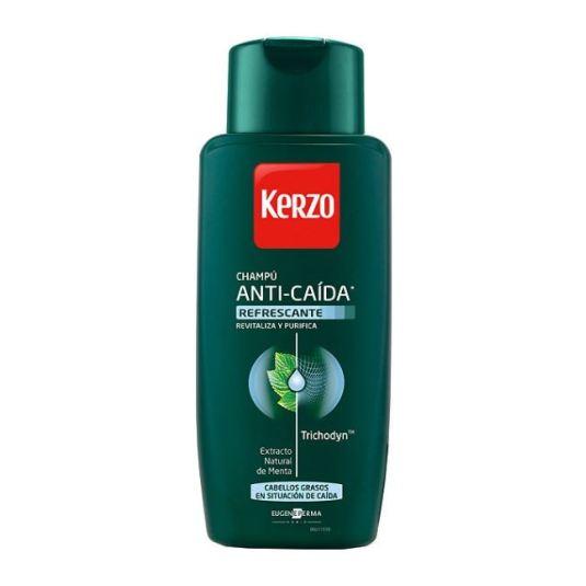 kerzo champu para hombre anti-caida refrescante para cabellos grasos 400ml