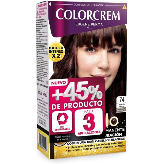 colorcrem original tinte permanente nº 74 marron moka +45% producto