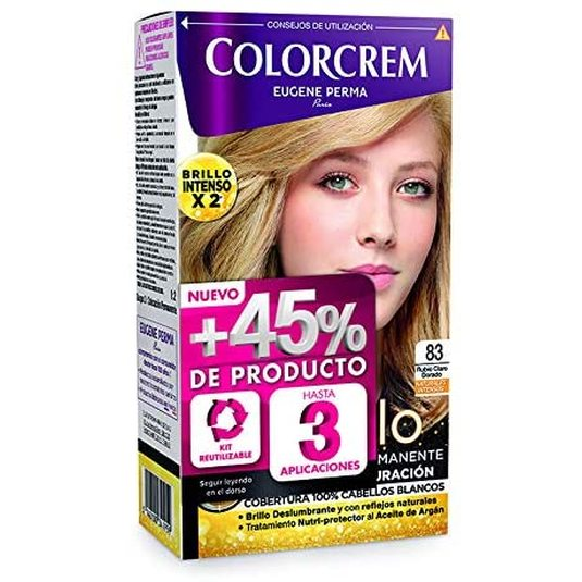 colorcrem original tinte permanente nº 83 rubio claro dorado +45% producto