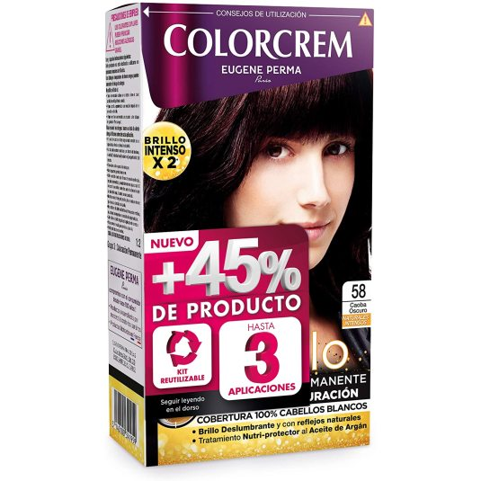 colorcrem original tinte permanente nº 58 caoba oscuro +45% producto