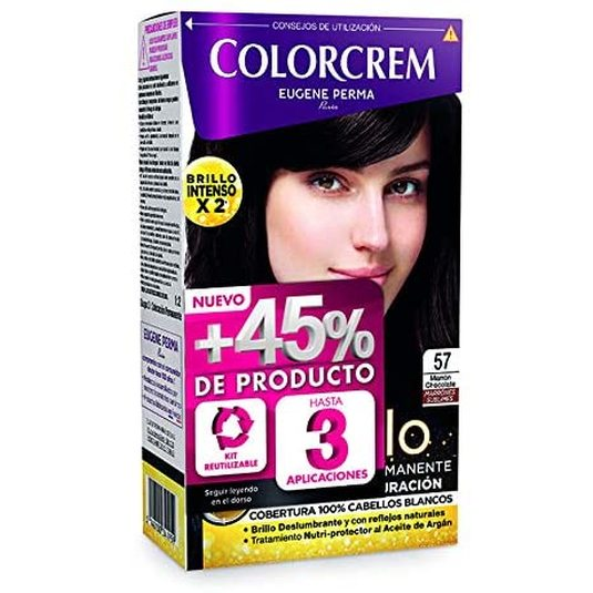 colorcrem original tinte permanente nº 57 marron chocolate +45% producto