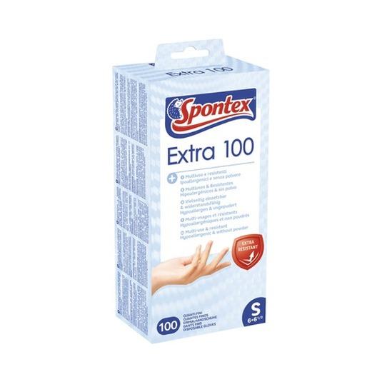spontex extra 100 guantes finos de vinilo hipoalergenico talla pequeña