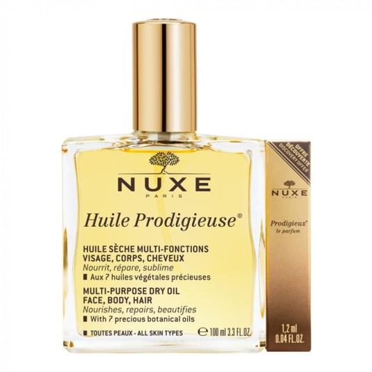 nuxe huile prodigieuse 100 ml + prodigieux le parfum 1,2 ml regalo