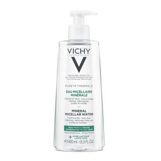 vichy pureté thermale agua micelar piel grasa dosificador 400ml