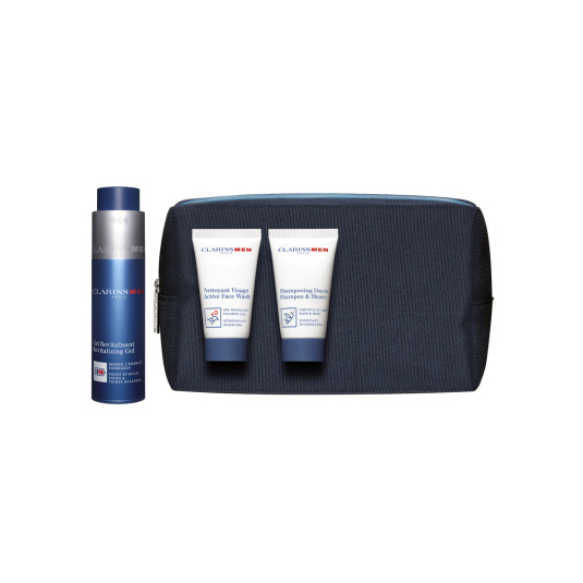 clarins men gel revitalizante set + neceser