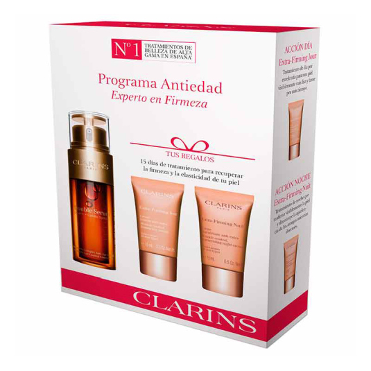 clarins double serum + extra firming 2019 gift set 3 piezas
