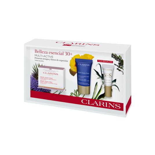 clarins multi-active belleza esencial 30+ crema 50ml set 4 piezas