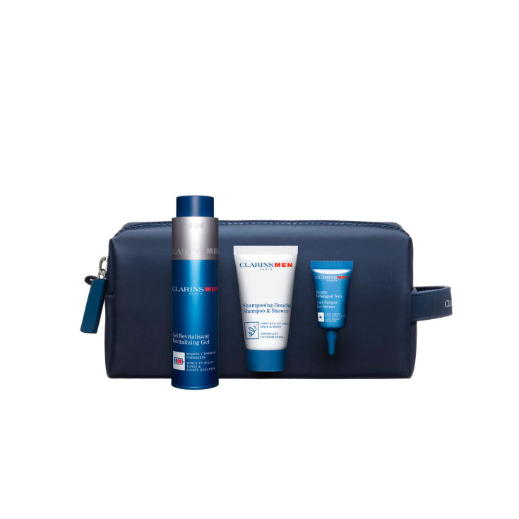 clarins men anti-aging gel revitalizante 50 ml set edición navidad 2019