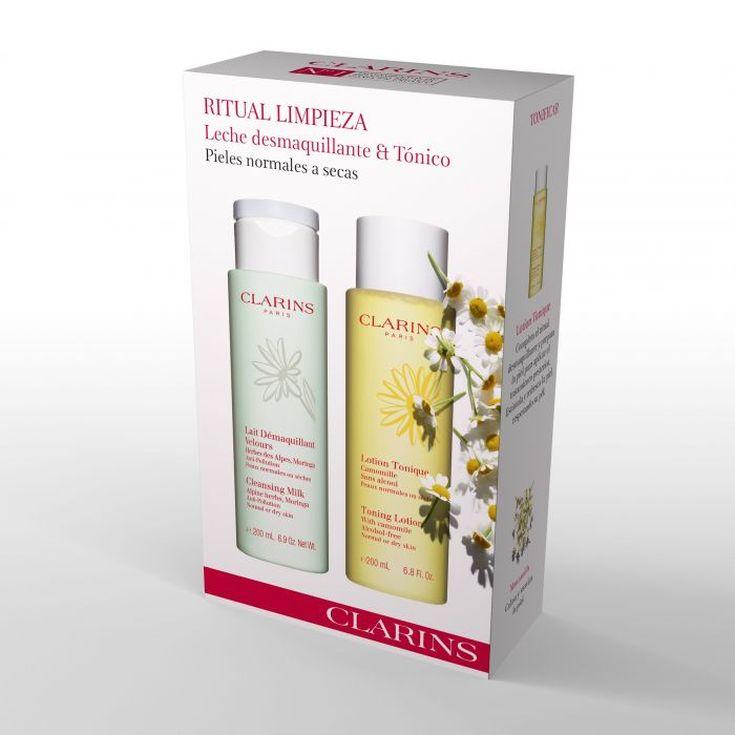 clarins limpieza facial leche desmaquillante 200ml+tónico piel normal-piel seca 200ml