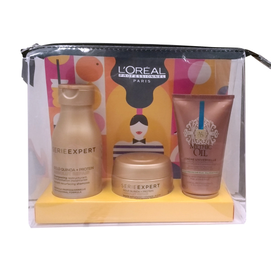 loreal professionnel absolut repair & mythic oil set 3 piezas viaje + neceser