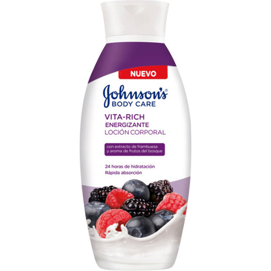 johnson's body care vita-rich loción corporal energizante extracto de frambuesa y aroma de frutos del bosque 400ml