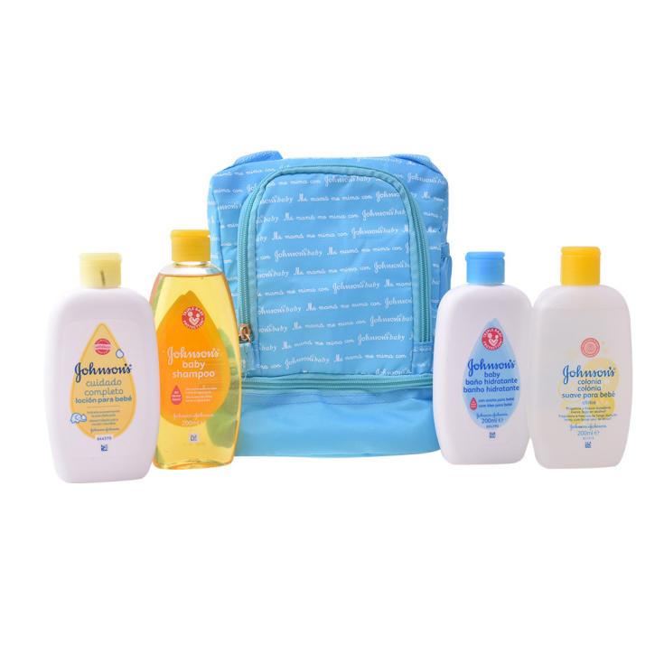 johnson's baby mi primera mochila azul set 4 productos