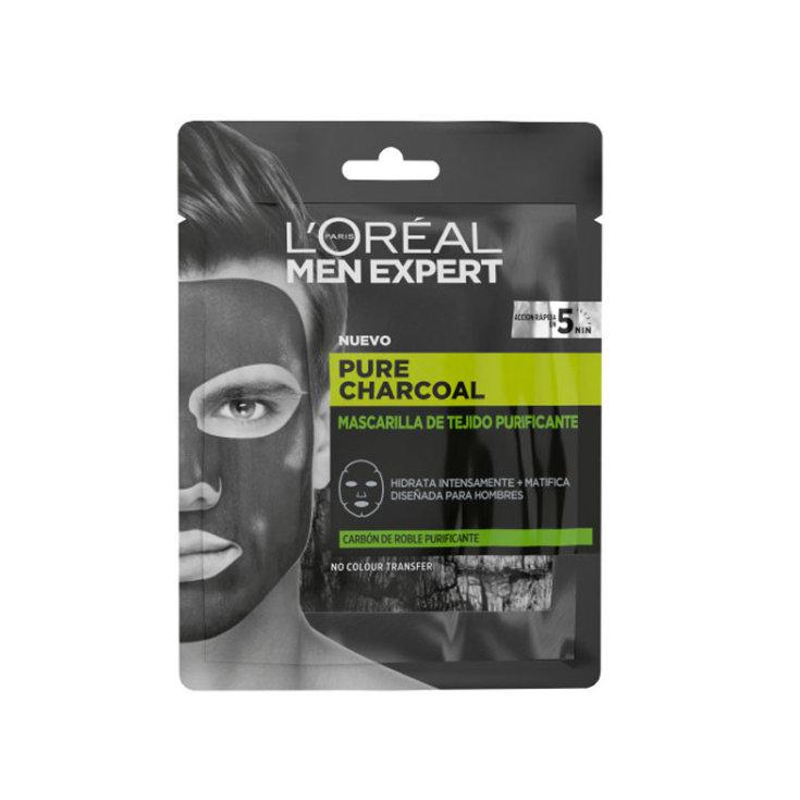 loreal Pure Men Expert Mascarilla de tejido purificante carbón