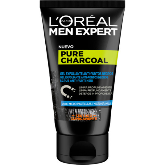 loreal men expert pure charcoal gel exfoliante anti-puntos negros 100ml