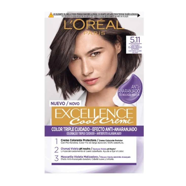 loreal excellence cool creme tinte permanente 5.11 castaño claro ceniza intenso
