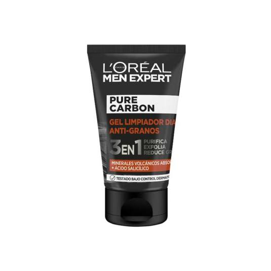 loreal men expert pure carbon gel limpiador diario anti-granos 100ml