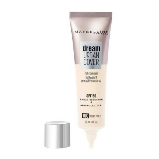 maybelline dream urban cover spf50 base de maquillaje proteccion muy alta