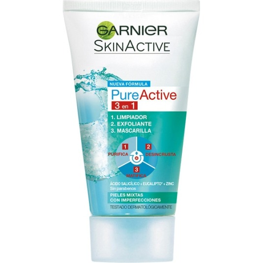 GARNIER PURE ACTIVE GEL LIMPIADOR 3EN1 150ML.