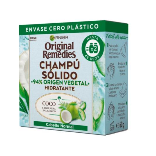 original remedies champu solido coco y aloe vera ecologico para cabello normal, raices grasas pastilla 60g