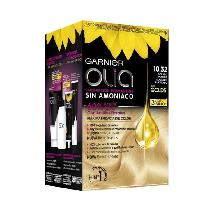 olia tinte coloracion permanente sin amoniaco y con aceites naturales 10.32 dorado platino
