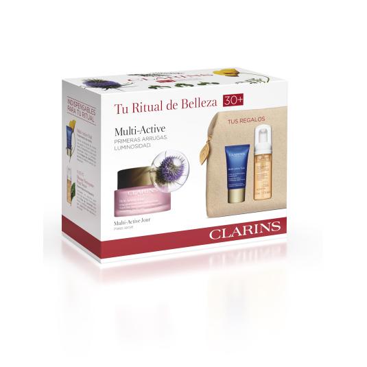 clarins experto multi-activa crema dia 50ml piel seca set 4 piezas