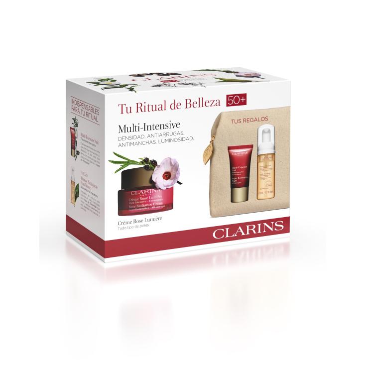 clarins rose lumiere multi-intensiva crema 50ml set 4 piezas