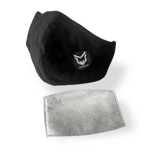 mascarilla ultramask protectora lavable negra con filtro extraible de carbon activo (sin valvula)