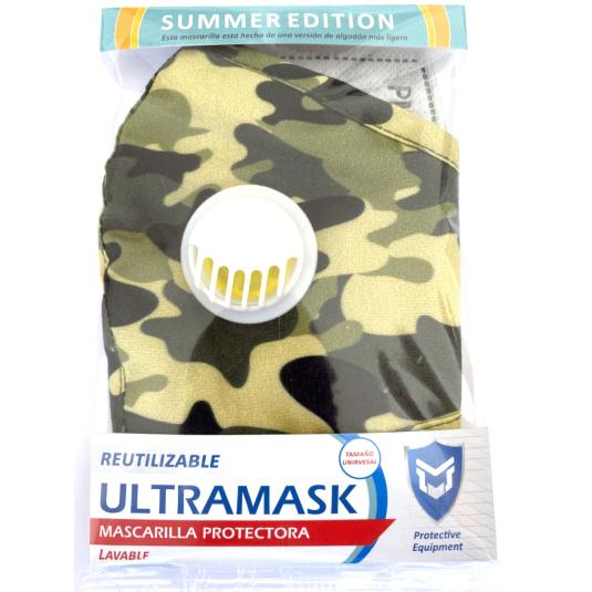 mascarilla protectora ultramask camuflaje clara lavable con valvula y filtro extraible summer edition