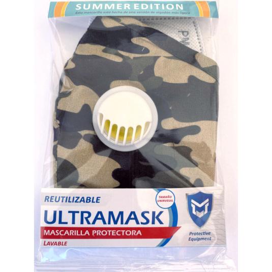 mascarilla protectora ultramask camuflaje oscura lavable con valvula y filtro extraible summer edition