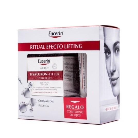 eucerin hyaluron-filler + volume-lift crema día antiedad piel seca + regalo crema contorno ojo