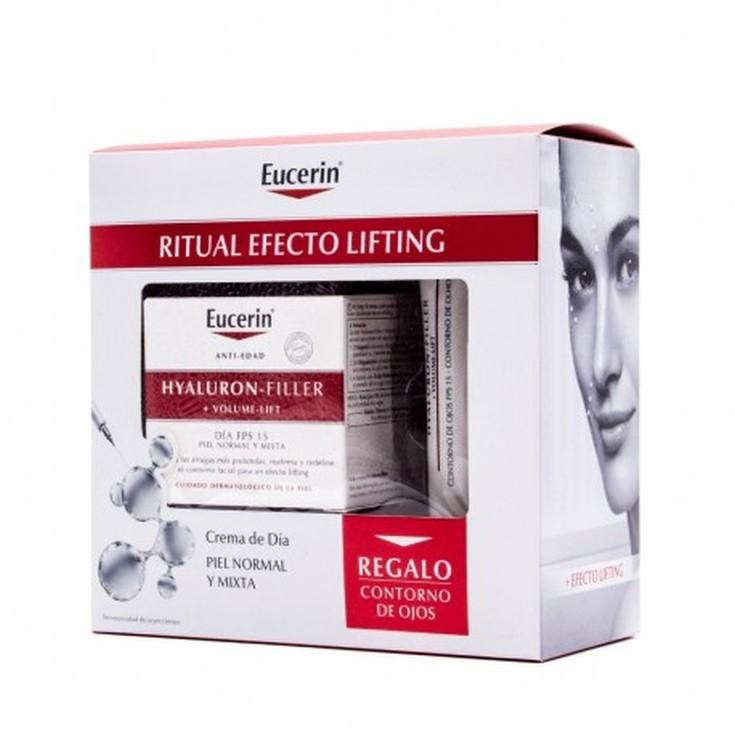 eucerin hyaluron-filler + volume-lift crema dia antiedad piel mixta + regalo crema contorno ojo