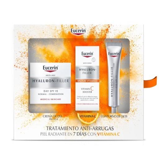 eucerin hyaluron-filler crema dia antiedad piel seca set regalo 3 piezas