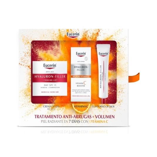 eucerin hyaluron-filler volume-lift crema dia antiedad piel seca set regalo 3 piezas