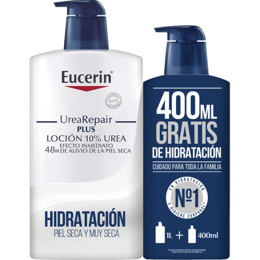 eucerin urearepair plus loción 10% urea para piel seca y muy seca frasco 1000ml+400ml gratis