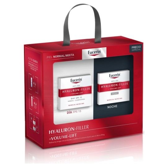 eucerin hyaluron-filler+volume-lift set crema dia + noche piel normal